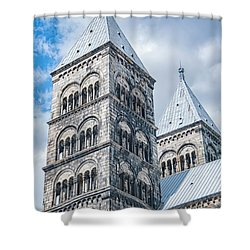 Shower Curtain featuring the photograph Lund Cathedral In Sweden by Antony McAulay