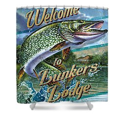 Lunkers Lodge Sign Shower Curtain