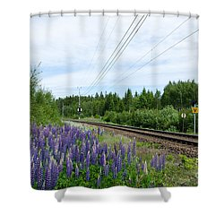 Shower Curtain featuring the photograph Lupin Flowers By The Railroad by Kennerth and Birgitta Kullman