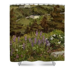 Lupine And Wild Roses Shower Curtain by Jane Thorpe