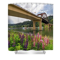 Lupine In Bloom By Sauvie Island Bridge Shower Curtain by David Gn