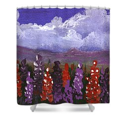 Shower Curtain featuring the painting Lupine Land #1 by Anastasiya Malakhova