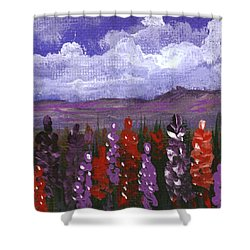 Shower Curtain featuring the painting Lupine Land #2 by Anastasiya Malakhova
