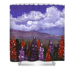 Shower Curtain featuring the painting Lupine Land #3 by Anastasiya Malakhova