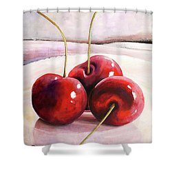 Luscious Cherries Shower Curtain by Toni Grote