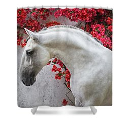 Lusitano Portrait In Red Flowers Shower Curtain