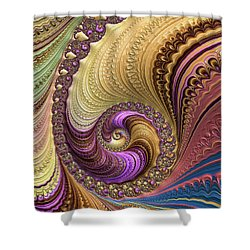 Luxe Colorful Fractal Spiral Shower Curtain