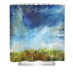 Shower Curtain featuring the painting Lying In The Grass by Michael Helfen