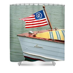 Vintage Mahogany Lyman Runabout Boat With Navy Flag Shower Curtain