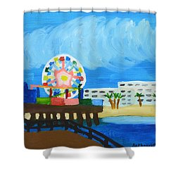Shower Curtain featuring the painting Lyndas Ferris Wheel by Anthony Larocca