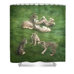 Lynx In The Mist Shower Curtain