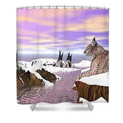 Shower Curtain featuring the digital art Lynx Watcher Render by Darren Cannell