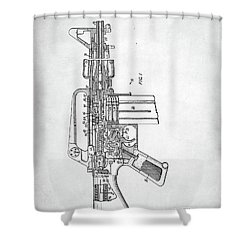 M-16 Rifle Patent Shower Curtain by Taylan Apukovska