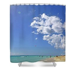 Shower Curtain featuring the digital art M Day At The Beach 2 by Francesca Mackenney