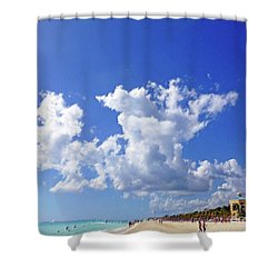 Shower Curtain featuring the digital art M Day At The Beach by Francesca Mackenney