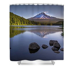 M T Hood Sunrise At Lake Trillium Shower Curtain