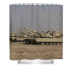 M1 Abrams Tanks At Camp Warhorse Shower Curtain by Terry Moore
