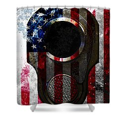 M1911 Colt 45 Muzzle And American Flag On Distressed Metal Sheet Shower Curtain