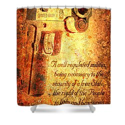 M1911 Pistol And Second Amendment On Rusted Overlay Shower Curtain