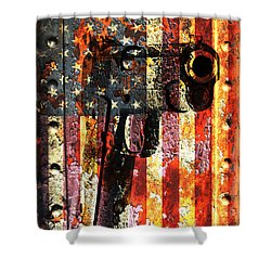 M1911 Silhouette On Rusted American Flag Shower Curtain