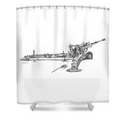 M198 Howitzer - Natural Sized Prints Shower Curtain