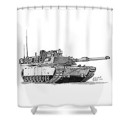 M1a1 C Company Xo Tank Shower Curtain