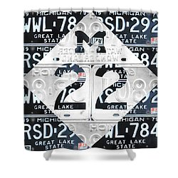 M22 Michigan Highway Symbol Recycled Vintage Great Lakes State License Plate Logo Art Shower Curtain
