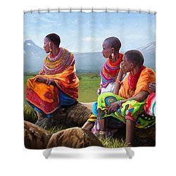 Shower Curtain featuring the painting Maasai Women by Anthony Mwangi