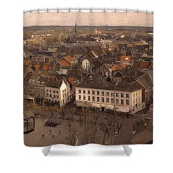 Shower Curtain featuring the painting Maastricht Direction East by Nop Briex