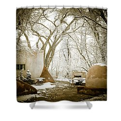 Shower Curtain featuring the photograph Mabel Luhan Dodge Home Exterior by Marilyn Hunt