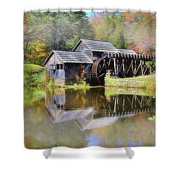 Shower Curtain featuring the digital art Mabry Grist Mill by Sharon Batdorf