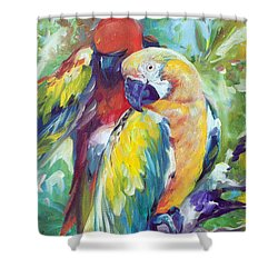 Macaw Pair Shower Curtain by Marcia Baldwin