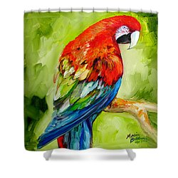 Macaw Tropical Shower Curtain by Marcia Baldwin