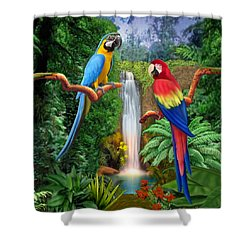 Macaw Tropical Parrots Shower Curtain by Glenn Holbrook