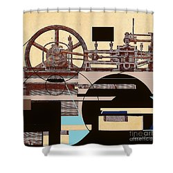 Shower Curtain featuring the mixed media Machine by Andrew Drozdowicz