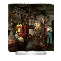 Shower Curtain featuring the photograph Machinist - Government Approved 1919 by Mike Savad