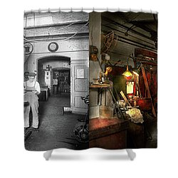 Shower Curtain featuring the photograph Machinist - Government Approved 1919 - Side By Side by Mike Savad