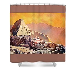 Shower Curtain featuring the painting Machu Picchu Sunset by Ryan Fox
