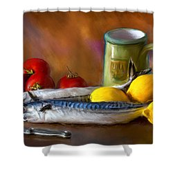 Mackerels, Lemons And Tomatoes Shower Curtain
