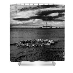 Mackinac Bridge - Infrared 03 Shower Curtain