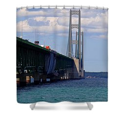 Mackinac Bridge At Sixty Eight Shower Curtain by Keith Stokes