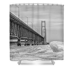 Shower Curtain featuring the photograph Mackinac Bridge Icy Black And White  by John McGraw