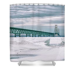 Shower Curtain featuring the photograph Mackinac Bridge In Winter During Day by John McGraw