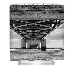 Shower Curtain featuring the photograph Mackinac Bridge In Winter Underneath  by John McGraw