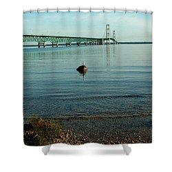 Shower Curtain featuring the photograph Mackinac Bridge Michigan by LeeAnn McLaneGoetz McLaneGoetzStudioLLCcom