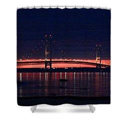 Mackinac Bridge On A June Evening Shower Curtain