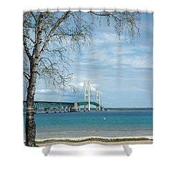 Shower Curtain featuring the photograph Mackinac Bridge Park by LeeAnn McLaneGoetz McLaneGoetzStudioLLCcom