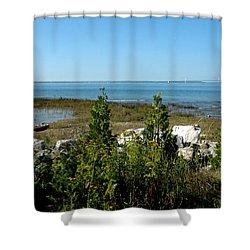 Shower Curtain featuring the photograph Mackinac Island View Of Bridge by LeeAnn McLaneGoetz McLaneGoetzStudioLLCcom