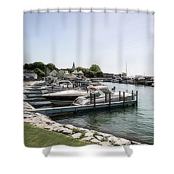 Mackinac Marina Art Shower Curtain