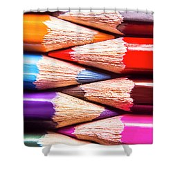 Macro Coloured Pencil Crossover Shower Curtain